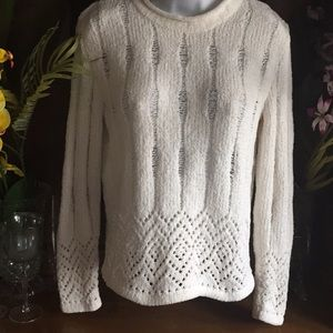 Liz sport pullover semi sheer sweater ivory small